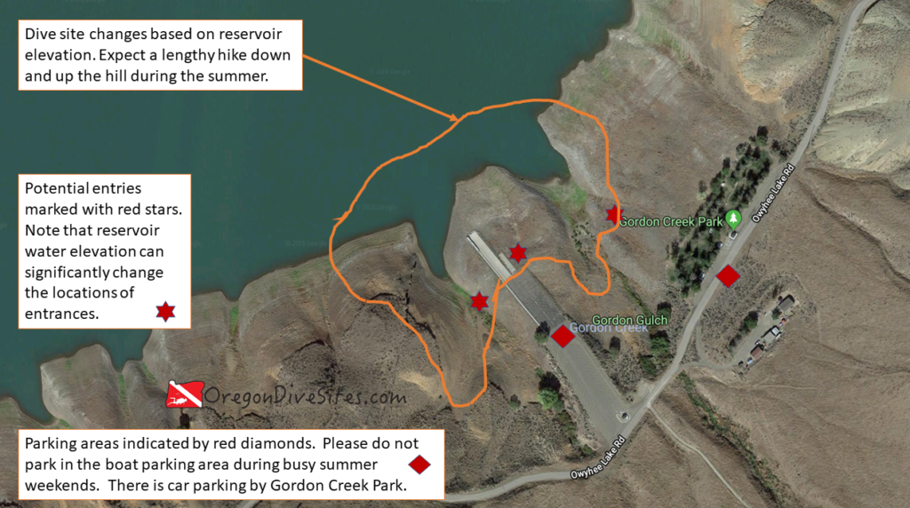 Gordon Creek Park and the Gordon Boat Ramp is a good place to go do some diving in Southeast Oregon. Just be mindful of boat traffic and don't forget that this is an altitude dive. Imagery ©2018 Google, Map data ©2018 Google.